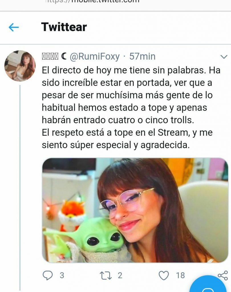 RumiFoxy celebra estar en portada, Twitter 2020